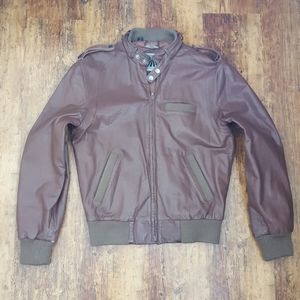 Vintage Members Only Brown Leather Bomber Jacket